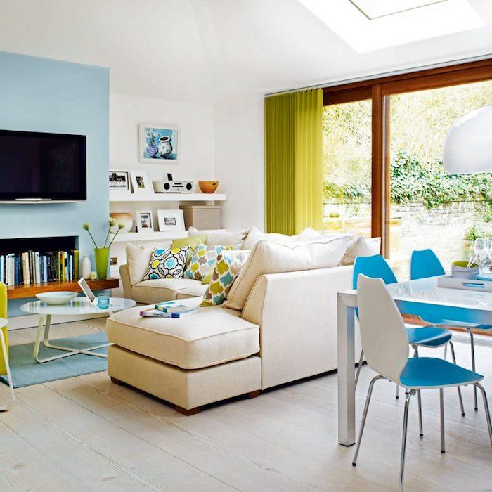 Idée couleur salon aménager un salon en longueur cool déco à faire salon et salle à manger bleu et vert déco printemps