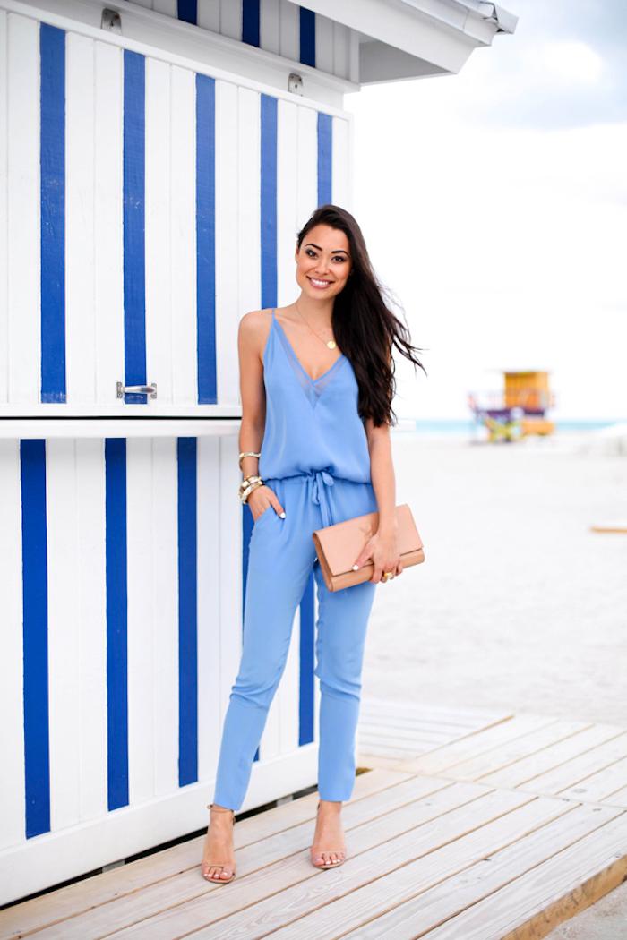 Tenue invitée mariage occasion spéciale robe habillée femme style combinaison bleu mariage sur la plage tenue simple