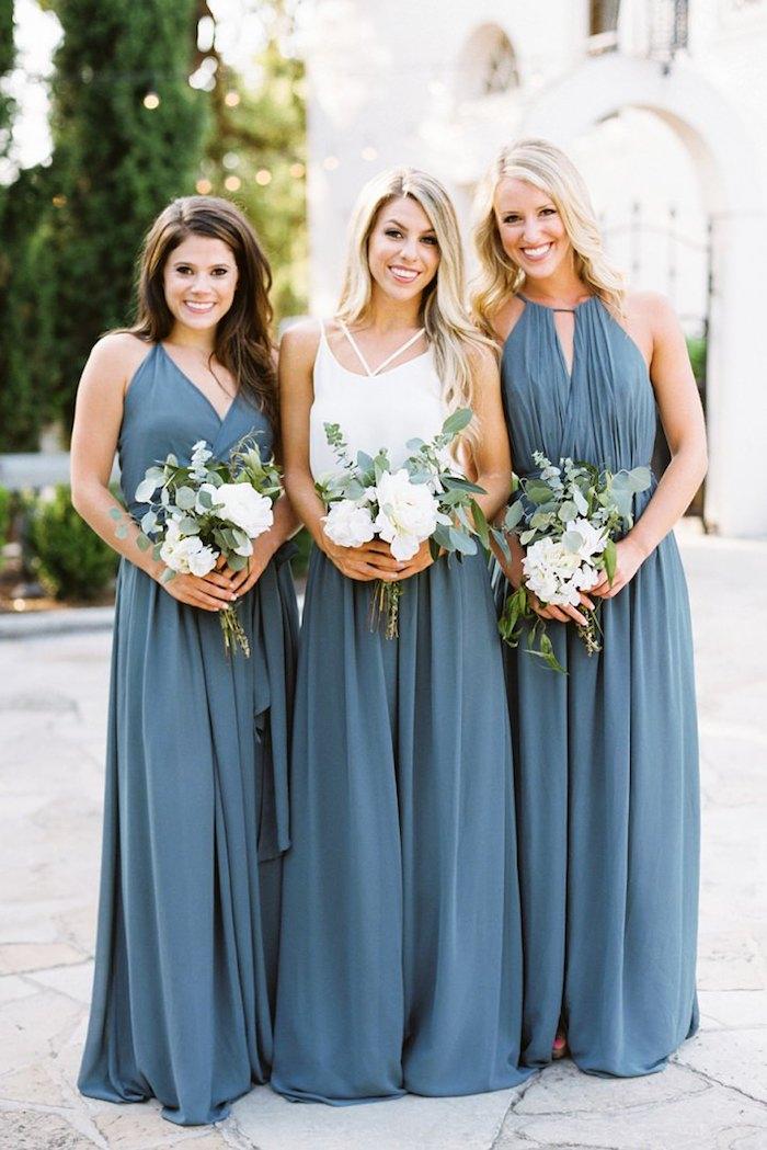 Robe pour invité mariage simple et chic tenue mariage comment s'habiller demoiselles d'honneur robes longues bleus