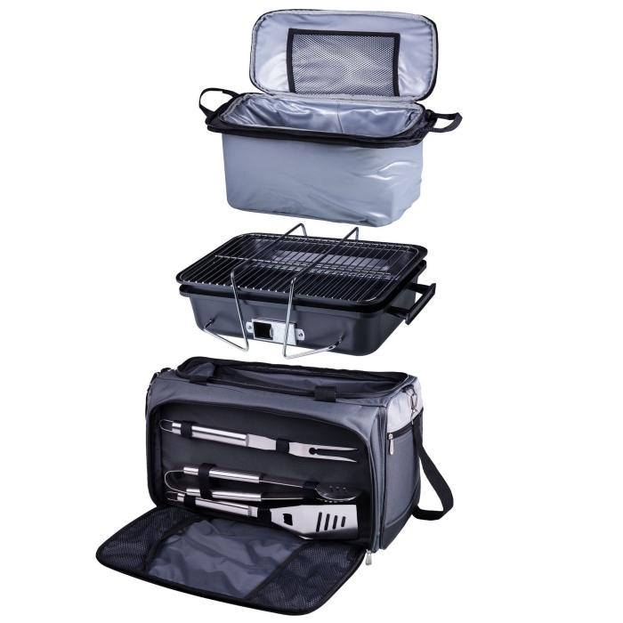 idée cadeau pour son père qui aime faire barbecue, sac à ustensiles pour grille de couleur gris foncé pour homme