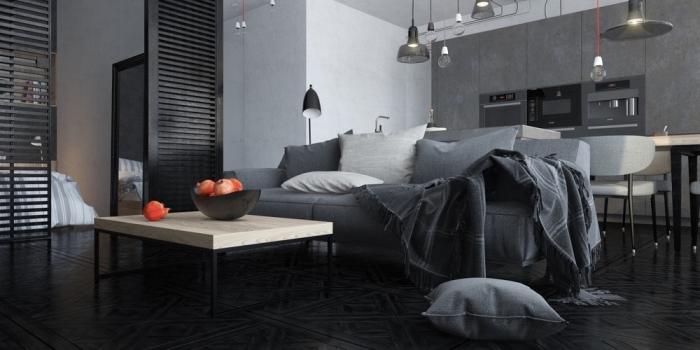 studio moderne aux murs blancs avec pan de mur gris foncé et séparation en bois, déco de salon avec canapé gris et table basse en bois et fer