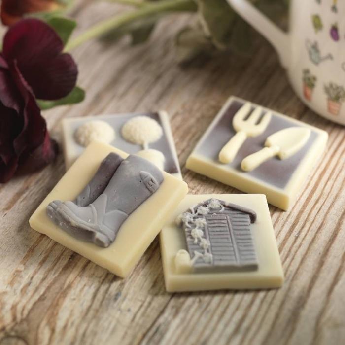 exemple de bonbons délicieux avec décoration en glaçage sur le thème de jardinage comme une surprise pour la fête de papa