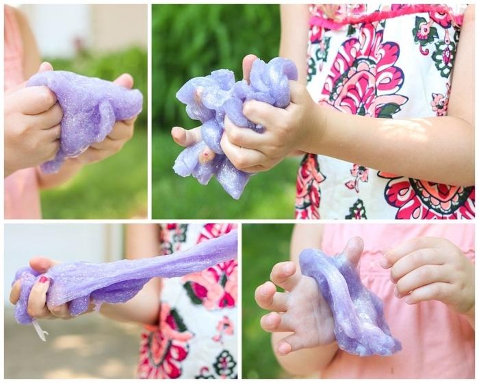 idée d'une activité sensorielle ludique avec de la pâte gluante faite maison, recette diy pour fabriquer du slime avec des ingrédients inoffensif pour la santé de l'enfant