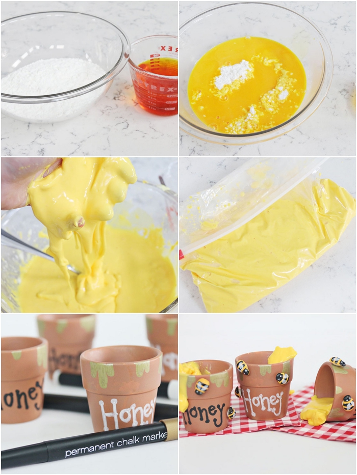 idée de bricolage amusant et original avec de la pâte slime, recette de slime facile pour réaliser des mini-pots de miel personnalisés