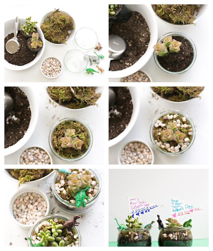 idée cadeau fête des pères, pot de fleurs avec terreau, succulents, mousse floral, figurines dinosaures et gravier, comment faire un terrarium