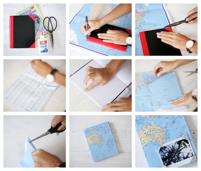 comment faire un carnet de voyage couverture décoré de papier carte géographique avec une photo de paysage devant