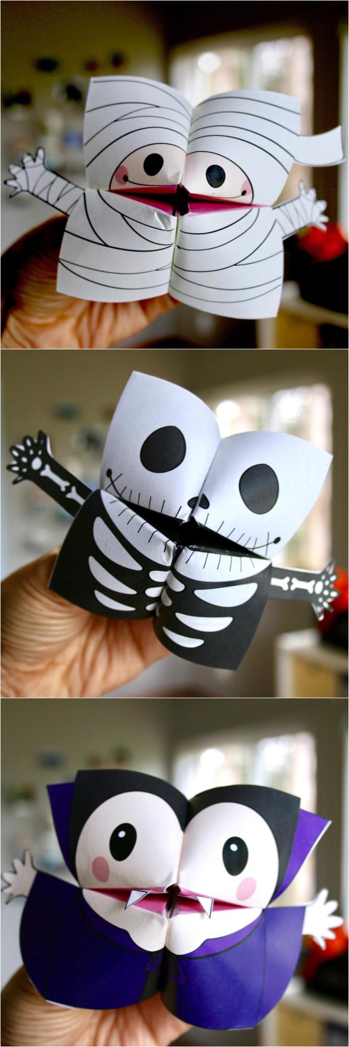 idée de bricolage spécial halloween pour réaliser des salières effrayants, comment faire une cocotte vampire, momie ou squelette