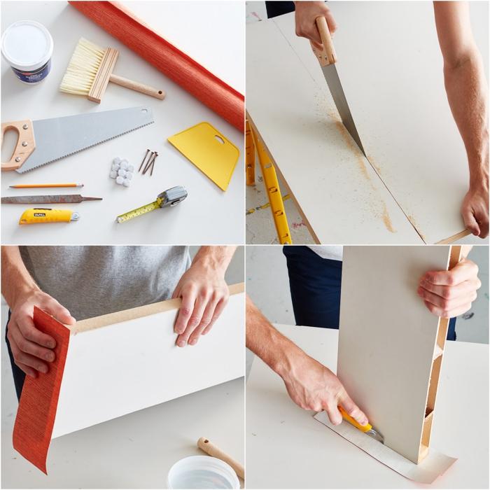 une tete de lit papier peint originale à fabriquer soi-même à partir d'une porte récupérée, recouvert de papier peint