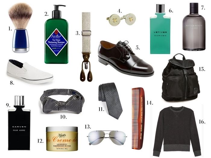 objets et produits soins beauté à offrir à un homme, accessoires et paire de chaussures élégants, produits cosmétiques pour homme