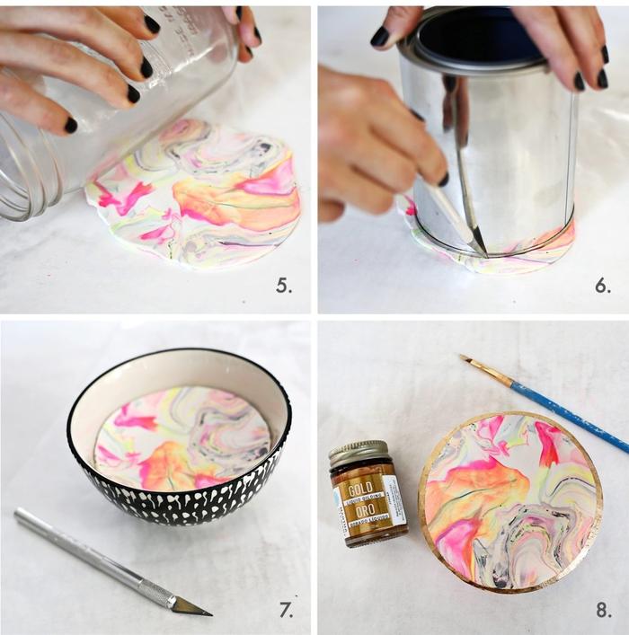 comment réaliser une coupelle à bijoux en argile multicolore effet marbre à bordure dorée, idée de bricolage fete des meres pour réaliser une jolie objet déco à effet marbre