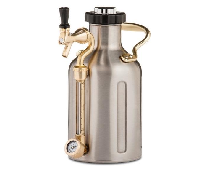 modèle de dispenser de bière moderne à design rose gold et or, idée cadeau original pour la fête des pères