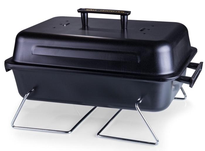 modèle de grille portable de charbon noir comme une idee cadeau fete des peres, faire une surprise à homme qui aime barbecue