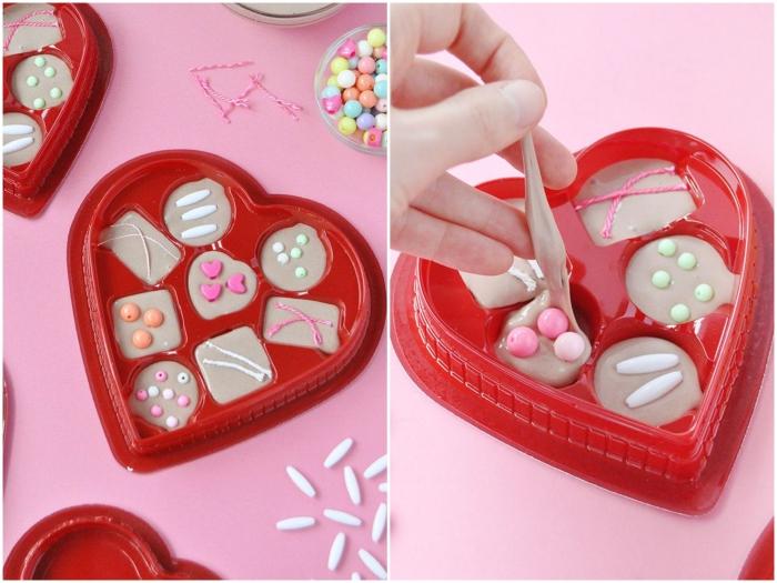 idée originale de bricolage pour la saint-valentin, une boîte cœur de bonbons en pate slime recette maison