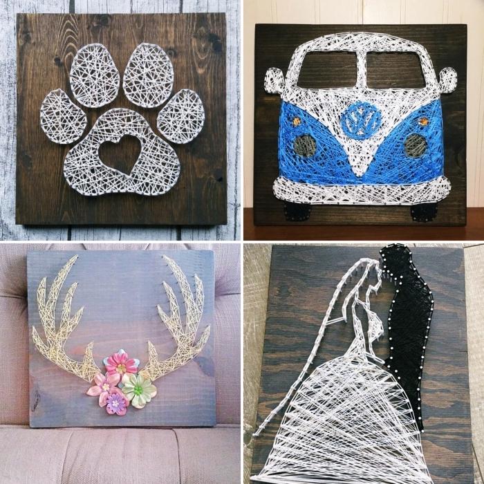 modèles de tableaux décoratifs pour mur fait en planche de bois foncé avec fil en forme de bus ou cornes de cerf
