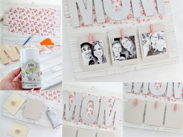 idée de cadeau fête des mères à fabriquer soi-même avec des palettes recyclées, un porte-photos en bois récup décoré de papier scrapbooking à motif fleurs