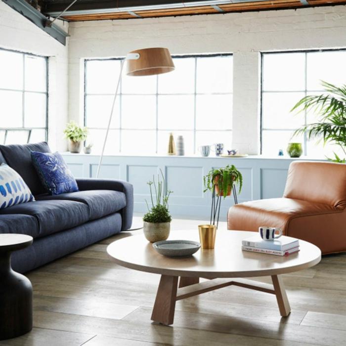 table basse design scandinave, décoration intérieure salon simple en bleu et bois