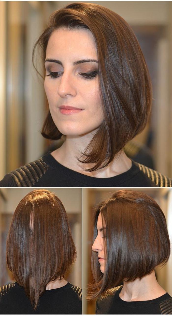 carré plongeant brune, carré long très plongeant, une coiffure tendance et classique