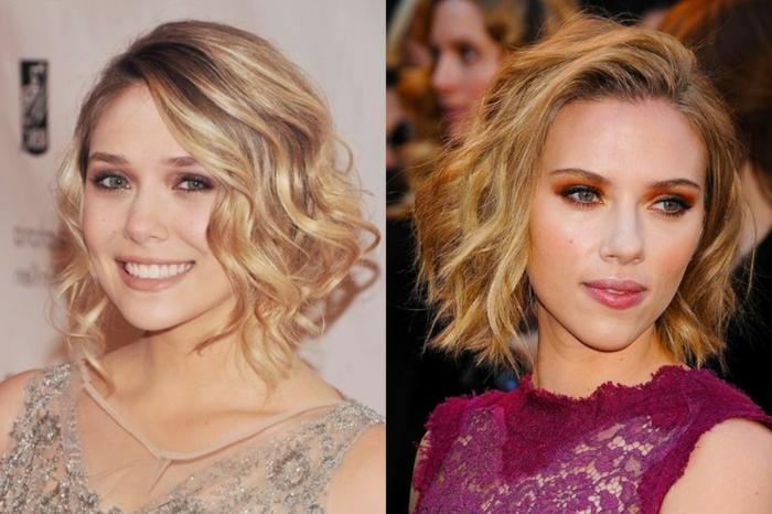 Scarlett Johansson portant un carré blond mi-long, les tenues et les coiffures des stars