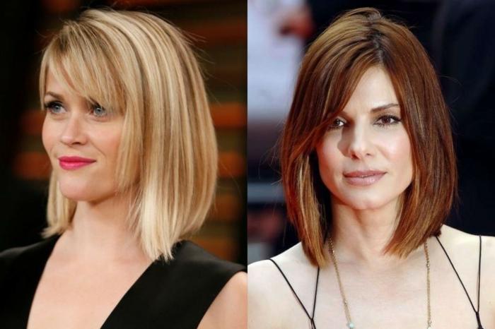 carré plongeant brune et carré plongeant blonde, les coiffures des célébrités