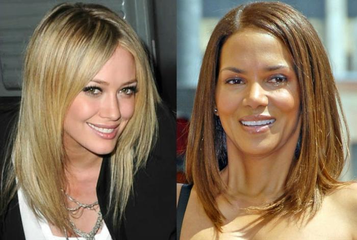 carré plongeant blond er carré plongeant brun, coiffures des femmes stylées
