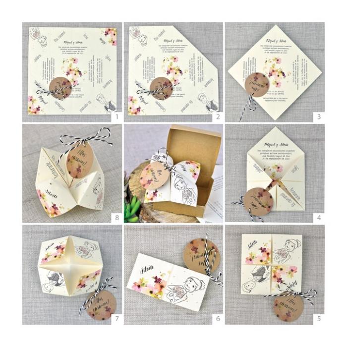 une alternative originale à la carte d'invitation mariage avec un modèle en origami cocotte à motifs fleurs avec ficelle noir et blanc