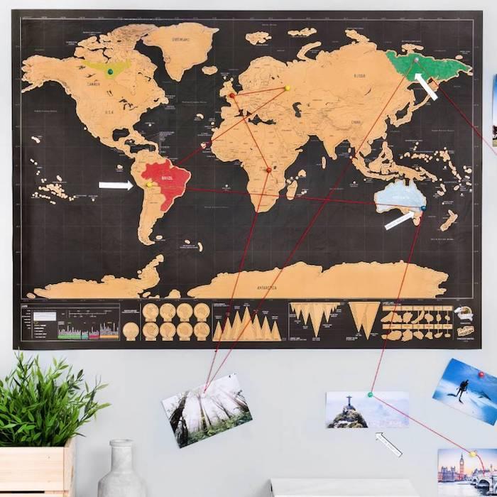 Idée cadeau crémaillère plan du monde scratch carte cadeau cremaillere beau cadeau et emballage originale
