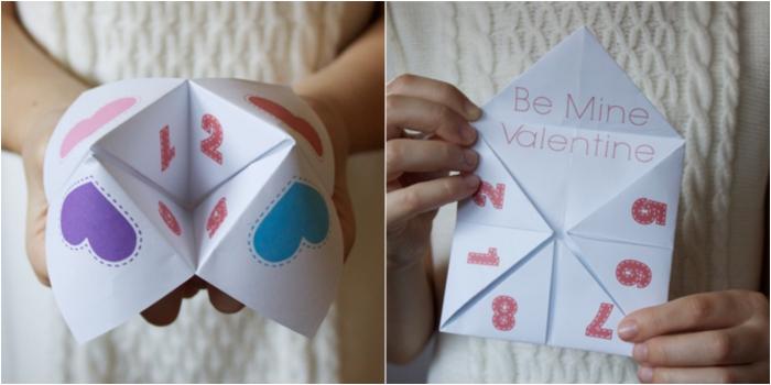 comment faire une cocotte en papier pour la fête de l'amour, jolie salière à motifs coeurs, téléchargeable gratuitment