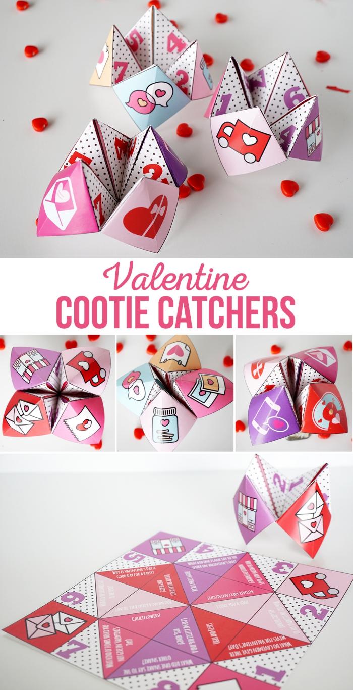 idée pour un pliage cocotte spéciale saint valentin à partir d'un gabarit multicolore à imrpimer gratuitement