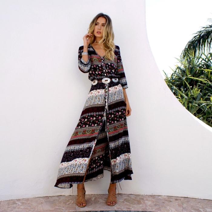 modèle de robe d'été longue avec manches et boutons ceinturée, idée vetement de plage pour femme de style boho chic