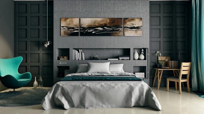 décoration de chambre à coucher moderne aux murs foncés avec rideaux longs verts et bureau en bois clair avec chaise