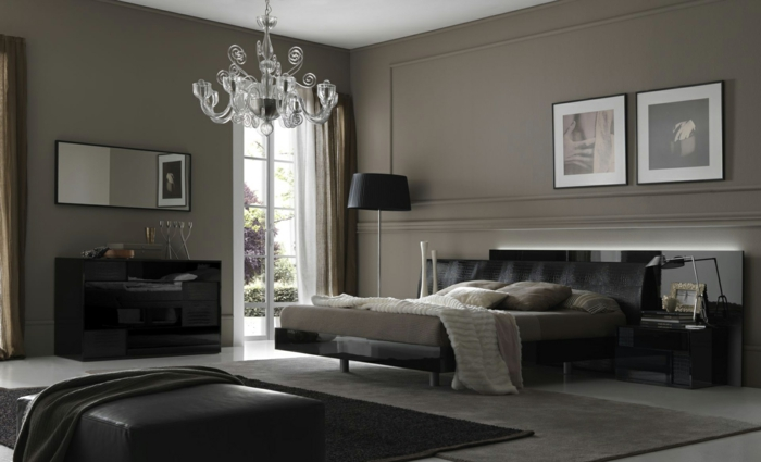 deco chambre blanche et grise baroque, plafonnier acrylique, tapis superposés, murs gris anthracite
