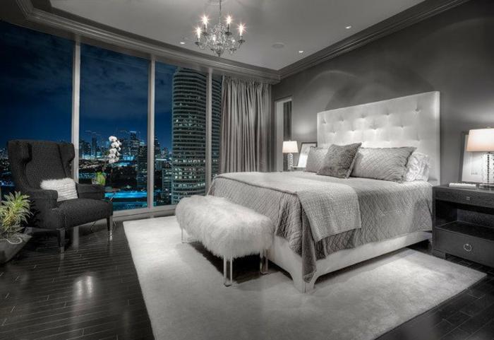 deco chambre moderne, chambre en gris anthracite et blanc, chandelier avec bougies, intérieur glamour