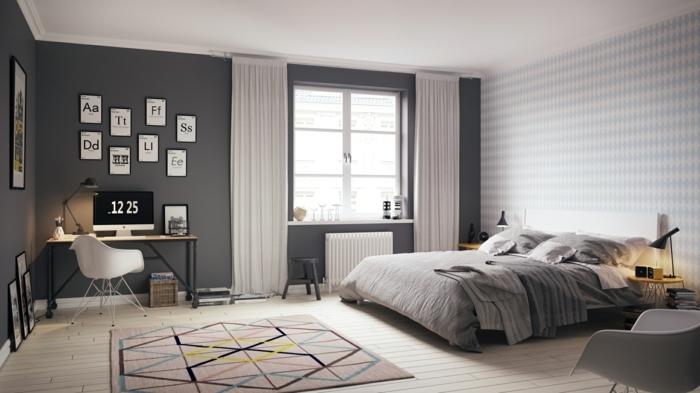 chambre originale, tapis gris aux motifs graphiques, peinture murale grise, chaises élégantes