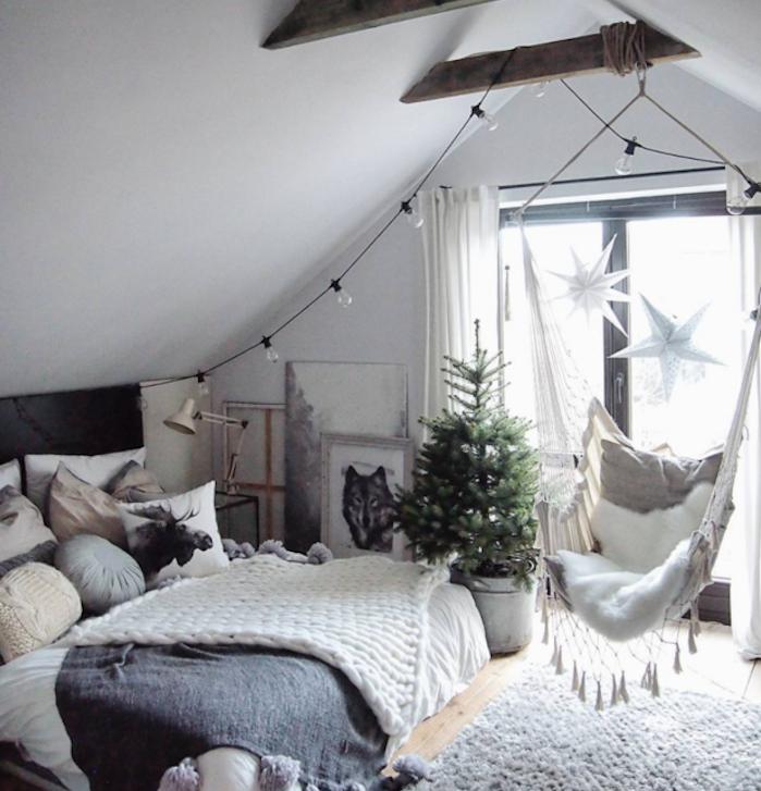 Chambre à coucher déco noel nordique déco chambre à coucher ado balancoire hamac dans la chambre