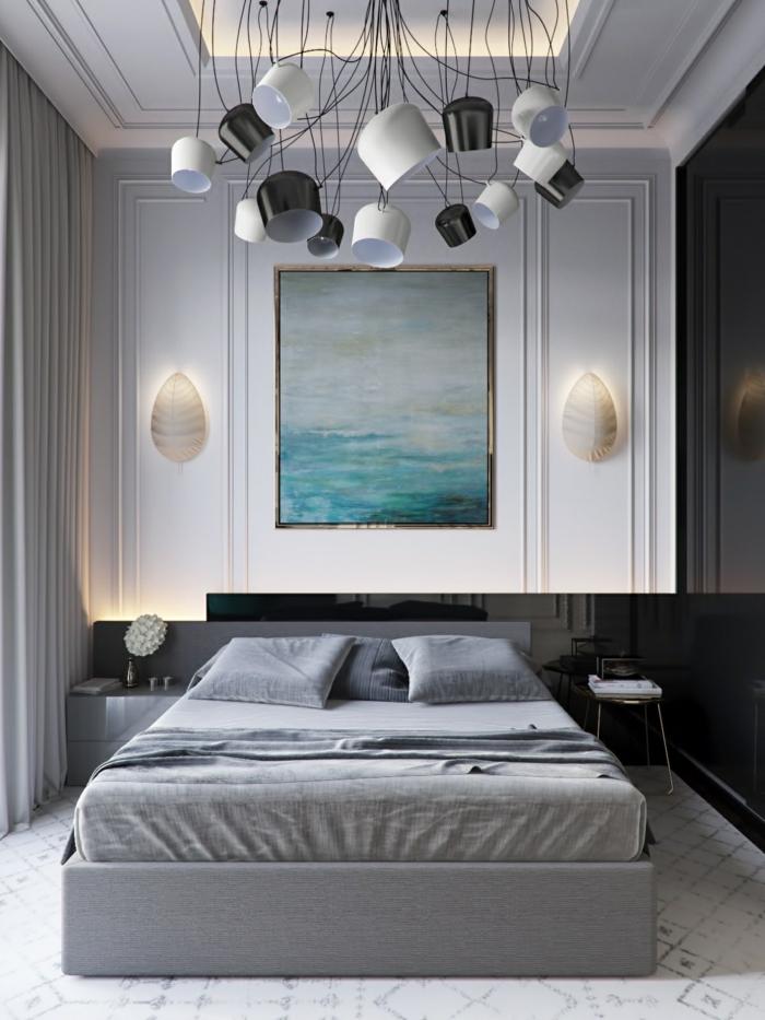 comment créer une chambre bleu gris, lit gis, grande peinture bleue, plafonnier design avant-garde