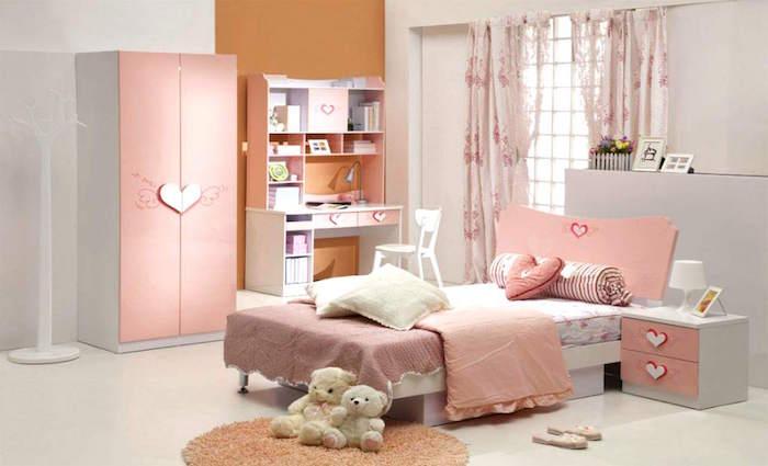 photo pour idee deco chambre bebe fille rose et gris pour enfant