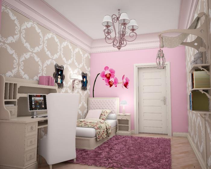 comment décorer sa chambre avec un mur rose, un mur en beige avec des arabesques blanches, luminaire avec six mini-abat-jours blancs, tapis en fuchsia, lit avec tete de lit matelassée en rose pale