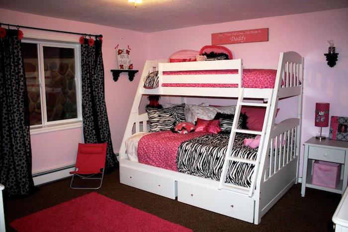couleur de peinture pour chambre enfant fille avec lit superposé blanc et murs roses