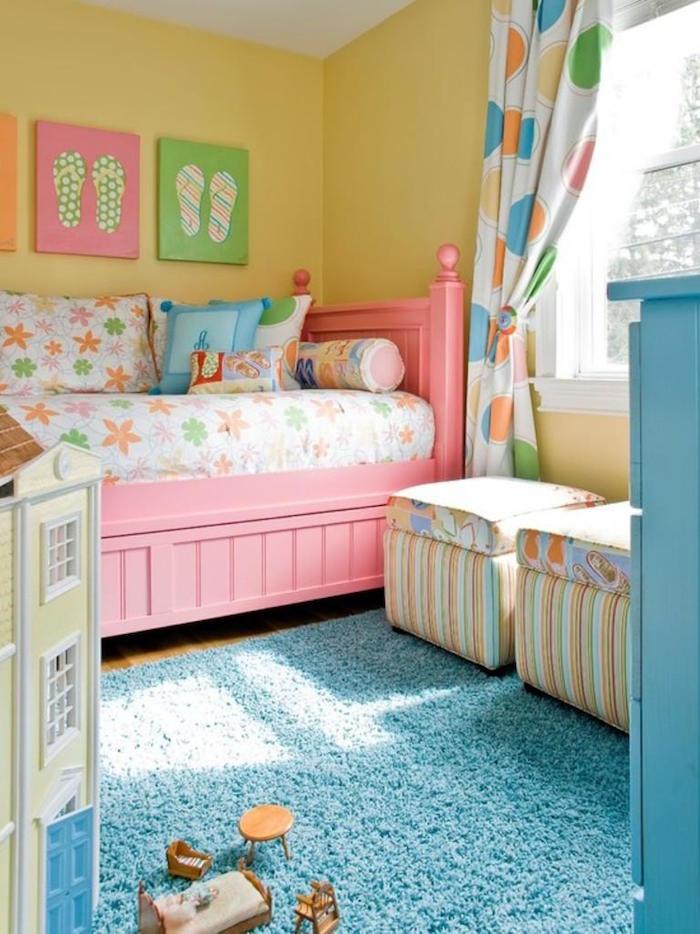 Chambre Fille Jaune Et Rose : Idées peinture chambre fille variez les palettes