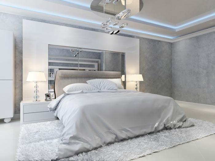 déco de chambre blanche et grise à esprit moderne, tête de lit grise, faux plafond lumineux, tapis moelleux