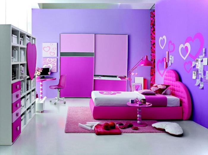 Modele Peinture Chambre Fille Violet Lavande Avec Lit Rose Fuchsia Sur Sol  Blanc