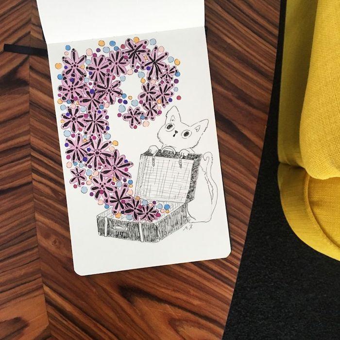Comment dessiner kawaii dessin chat avec valise idée inspirée par pikachu mignon joli dessins