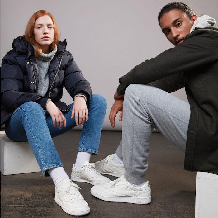 1bb5a96a6ab1 photo sneaker homme et femme Reebok Club C85 X SNS Premium en cuir blanc