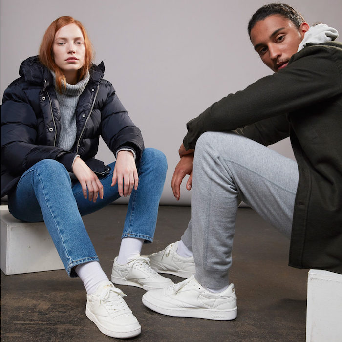 photo sneaker homme et femme Reebok Club C85 X SNS Premium en cuir blanc