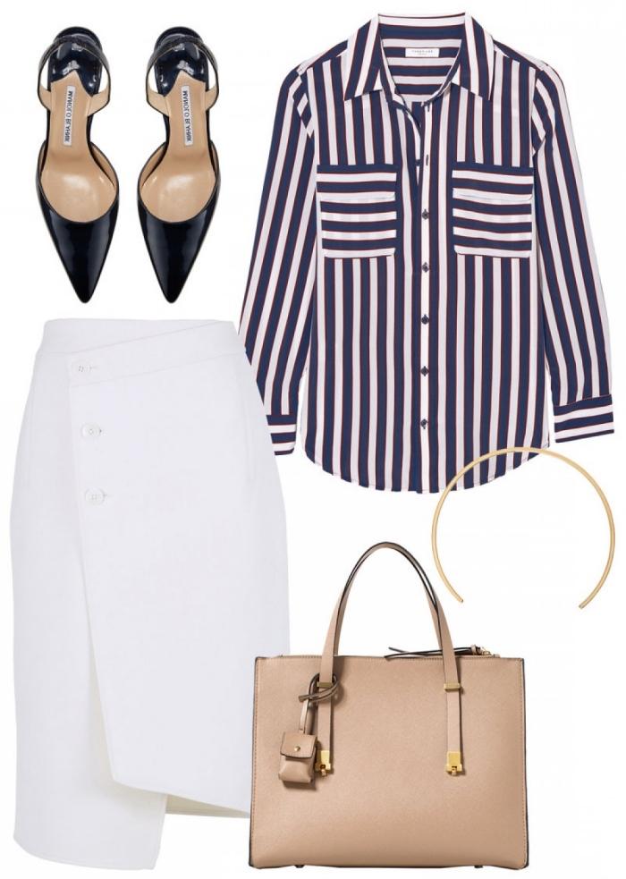 accessoires et pièces à porter ensemble pour un entretien, jupe mi-longue à design asymétrique blanche avec chemise rayée