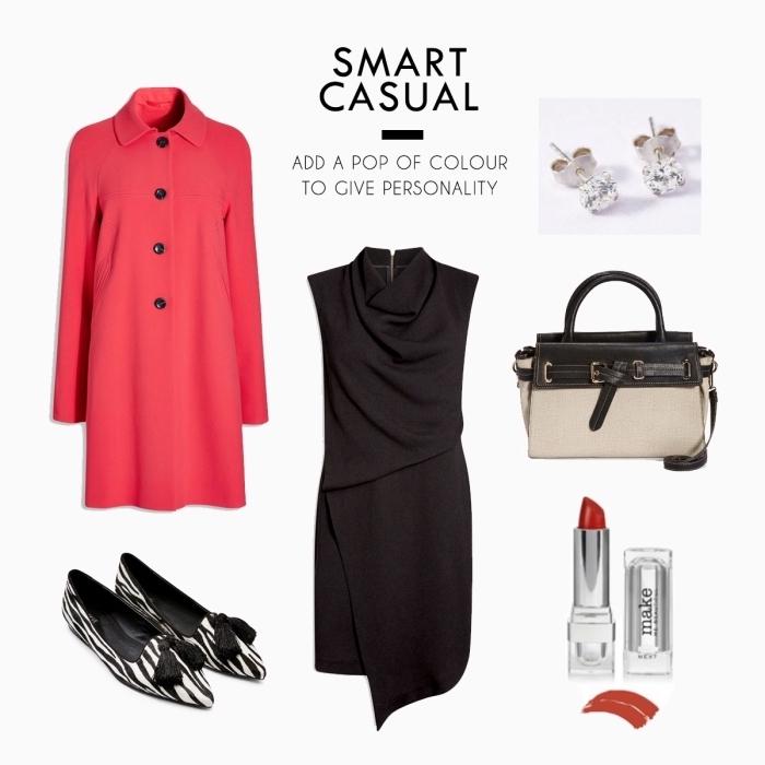 idée comment assortir les couleurs de ses vêtements, modèle de robe noire élégante combiné avec accessoires noir et blanc