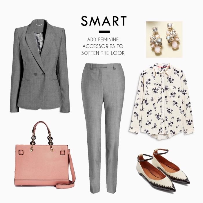 pièces et accessoires à assortir ensemble pour réussir le code vestimentaire, look professionnel avec blazer et pantalon gris