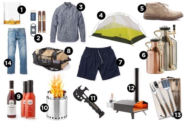 accessoires et objets pour la fete des papa, barbecue à feu et set de sauces pour grille, modèle de distributeur bière à design métallique