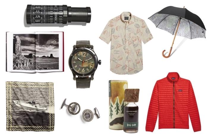 accessoires et vêtements design fashion pour homme, idees cadeaux fetes des peres avec un livre à paysages naturels
