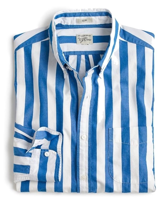 modèle de chemise à design rayée en blanc et bleu à offrir pour la fête des pères, idée cadeau pour homme
